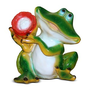 Лягушка с подсолнухом фигурка садовая